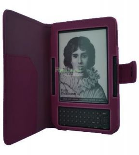 Purple Leather Case Cover for Reader  Kindle 3 3G