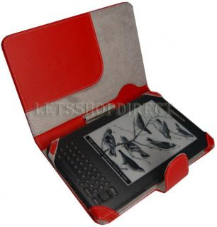 Kindle 3 Red Leather Sleeve Case Cover 3G WiFi