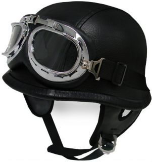 Dot Black Leather German Motorcycle Half Helmet w Pilot Goggles