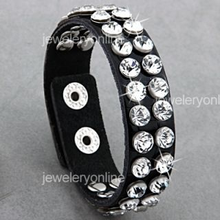 Black Studs Rhinestone Leather Wristband Bracelet 0 7
