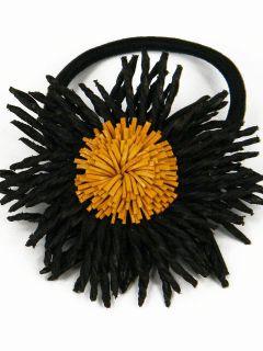Leather Corn Flower Ponytail Holder Hair Tie Bow BJB4 Black