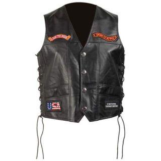 Wholesale Lot 6 Solid Leather Motorcycle Vests GFVSLPT