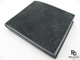 PELGIO New Genuine Shark Skin Leather Bifold Mens Wallet Black Free