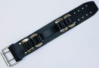 Harley Davidson Style Wide Leather Watch Band Chrome Bars