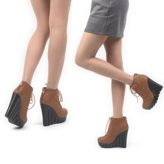 Womens punk goth lightweight lace up platform wedge high heel back zip