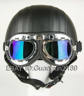 Leather Covered Motorcycle Helmet Goggles Visor Free