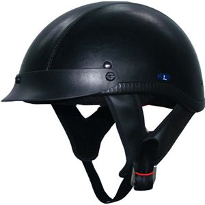 Motorcycle Helmet Beanie Half Helmets Fiber Glass Dot Black Leather