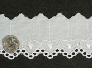 Yards 2 1 2 Embroidered Heart Cotton Eyelet Lace Apparel Upholstery