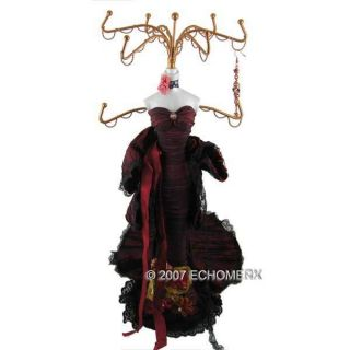 Elegant Lace Gown Burgundy Red Doll Jewelry Stand 15H