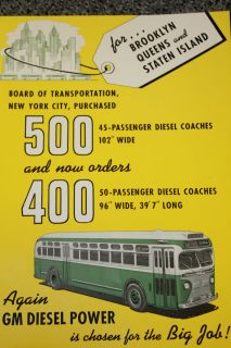NEW YORK CITY NYC 1948 GM Diesel BUS Motor Coach Brochure Brooklyn