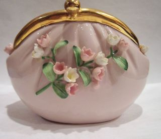 1950s? Pink Lefton China Purse With Raised Flowers Vase Planter Hand