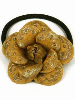 Leather Camellia Flower Ponytail Holder Hair Tie Bow DBB7 Gold