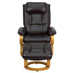 Flash Furniture Contemporary Brown Leather Recliner and Ottoman with S