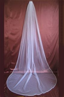 Bridal Veil Wedding One Tier White Scattered Rhinestone Cathedral