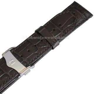 Brown Alligator Grain Leather Deployment Clasp Watch Band Strap
