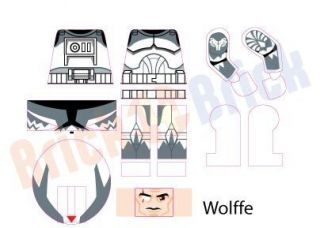 Lego Star Wars Clone Commander CC 3636 Wolffe Custom Water Slide Decal