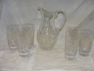 Vintage American Brilliant Cut Crystal Whirling Star Pitcher 6 Glasses