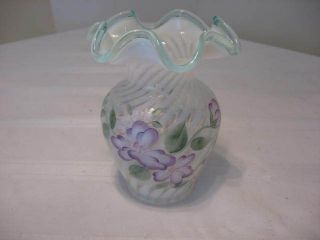 Fenton Vase Hand Painted by Mike Lemon White Light Blue