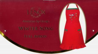 50 New Lenox Christmas Holiday Winter Song Full Bib Cotton Apron