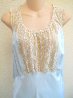 Nightgown Vtg 1920s Rayon Miss Lenora Gown of the Month Tall Blue