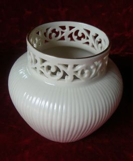 Lenox China Tracery Vase Hand Ivory Porcelain Decorated with 24KT Gold