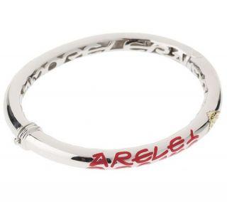 Leopoldo Poli Sterling Silver 18K Red Hinged Bangle Bracelet