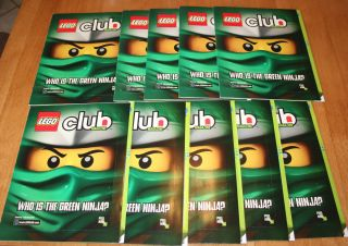 Lot 10 Lego Club Magazine Birthday Party favor Book Green Ninja