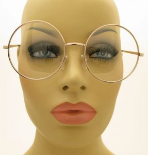 Clear Lens Large Round New Glasses Gold Color Metal Frame Unisex