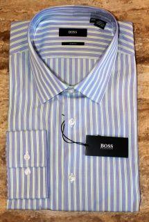 Hugo Boss Lenz Blue Green Striped Dress Shirt