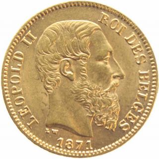 Belgium 20 Francs KM 37 XF Gold Coin Leopold II 1871