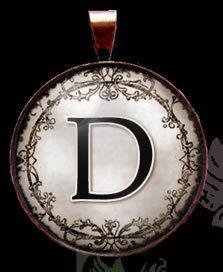 Letter Ornate Scroll Bronze Charm Necklace Pendant Oibr D IMCC