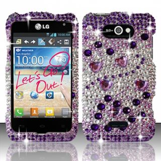 LG Motion 4G MS770 Crystal Diamond Bling Hard Case Phone Cover Purple
