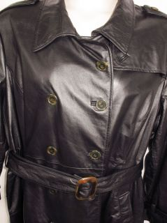 Terry Lewis Womens Black Leather Belted Trench Coat Jacket Sz 2X XXL
