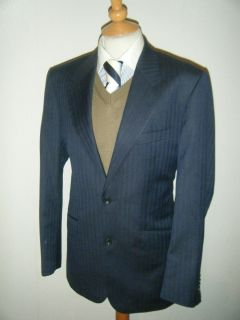 Mens T M Lewin Navy Super 110s Merino Wool Sports Jacket Suit Blazer