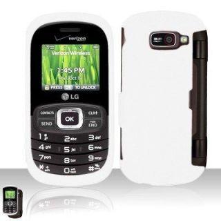White LG Octane VN530 Rubber Coating Hard Case Cover Verizon