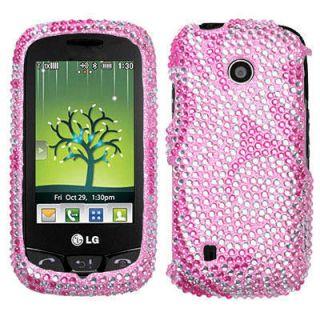 LG VN270 Cosmos Touch Pink Swirl Spiral Rhinestone Diamond Bling Case