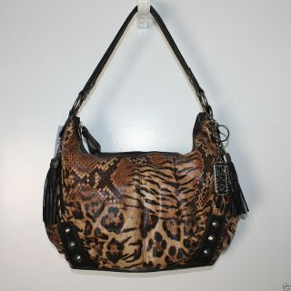 KATHY VAN ZEELAND ROCK STEADY ANIMAL PRINT HOBO BAG PURSE HANDBAG NWT