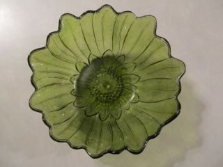 Vintage Green Glass Bowl Indiana Glass Lily Pons Pattern Sunflower