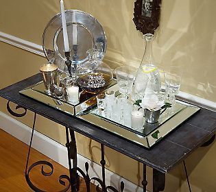 Linda Dano Beveled Mirror 15 x 15 Candle Flower Vanity Display