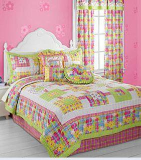 Jilly Full Bed Skirt Bedskirt Cute Pink Lime Green Plaid 14 Drop