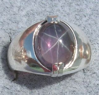 Mens 11x9mm Purple Linde Star Sapphire Created s s Ring