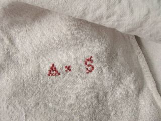 Antique French 19th Century Linen Sheet as Monogram