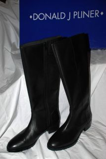 New Donald J Pliner Bixbi Black Leather Riding Boots Size 8 5