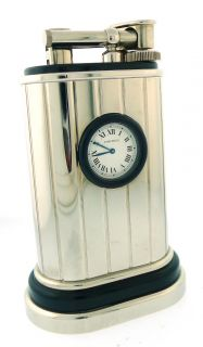 Cartier Table Lighter w Watch Platinum Finish Black Lacquer Box Papers