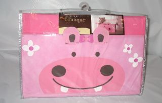 Little Boutique Animal Tote Storage Box Pink Hippo Nursery or Girls