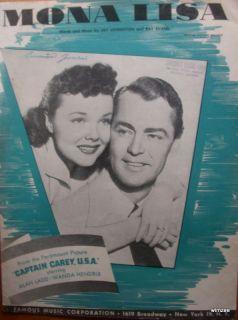 Sheet Music MONA LISA 1949 Captain Carey USA Alan Ladd piano vocal