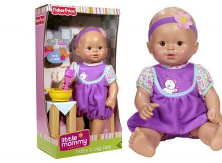 FISHER PRICE LITTLE MOMMY BABYS BIG DAY DOLL FEEDING TIME BABY BLUE