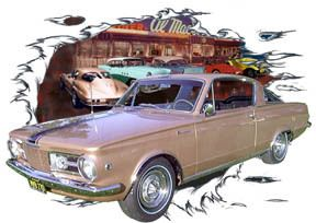 1965 Gold Plymouth Barracuda Hot Rod Diner T Shirt 65