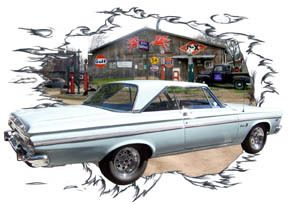 1965 White Plymouth Belvedere Hot Rod Garage T Shirt 65