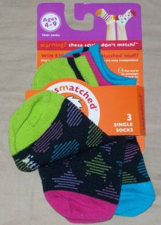 LittleMissMatched girls Liner Socks 3 single socks heart stars kid sz